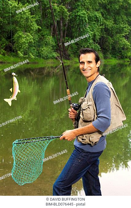 Hispanic man fishing