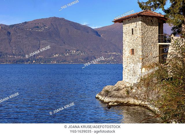 historic Roman watchtower on Lake Maggiore in Calde, Lombardy, Italy