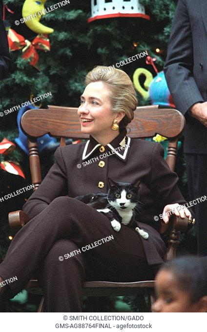 Socks the Cat, the first pet of President Bill Clinton and First Lady Hillary Rodham Clinton, with black fur, white face, and amber eyes