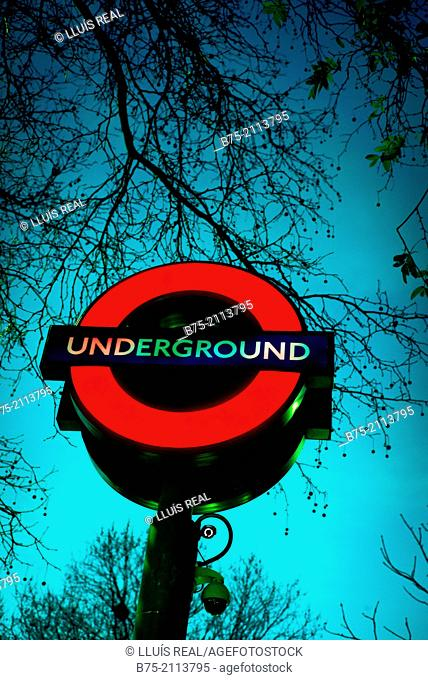 Sign post in the evening of Underground. London, England, UK, Europe