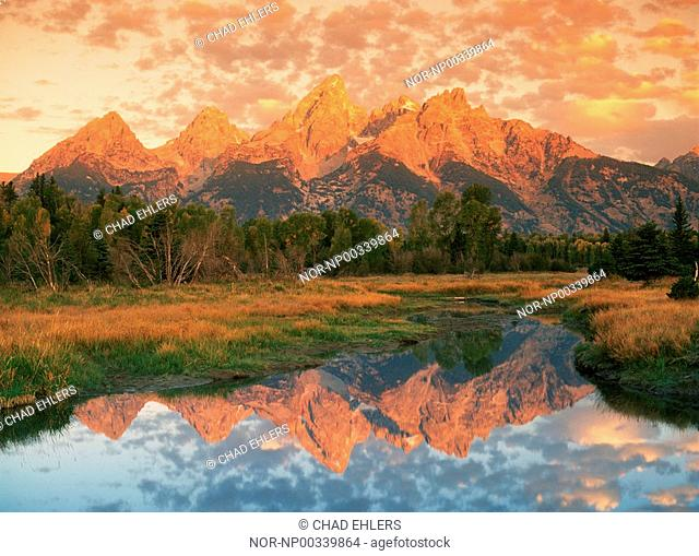 Oxbow Bend and Mount Moran in Grand Tetons Wyoming at sunrise