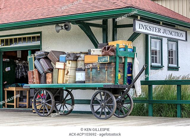 Luggage on a vintage cart, Inkster Junction Station, Prairie Dog Central Railway, Winnipeg, Manitoba, Canada