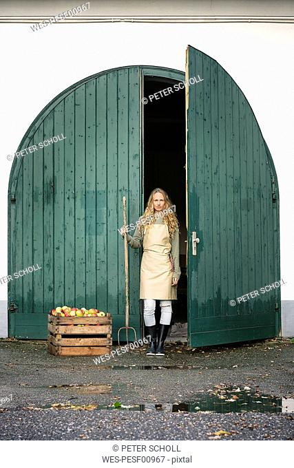 Woman on a farm standing at crate with apples