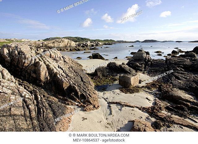 Beach and coastal view from Fidden Farm . south coast of Isle of Mull, Scotland, UK