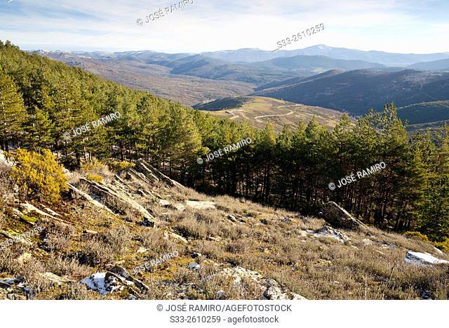 Sierra de Ocejon from Bañaderos peak. Montejo de la Sierra. Madrid. Spain. Europe