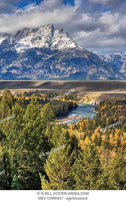 Snake River Overlook with Autumn (Fall) colour Grand Tetons National Park Wyoming USA