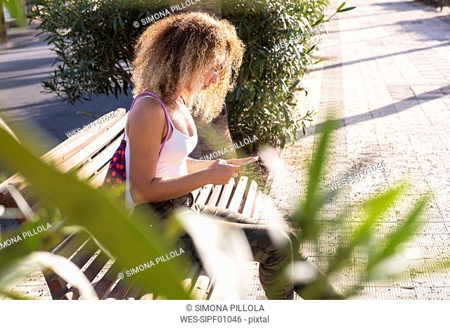 Young woman sitting on bench looking at smartphone
