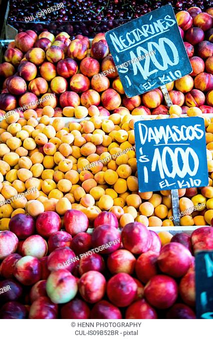 Fruit at a market stall in Santiago de Chile