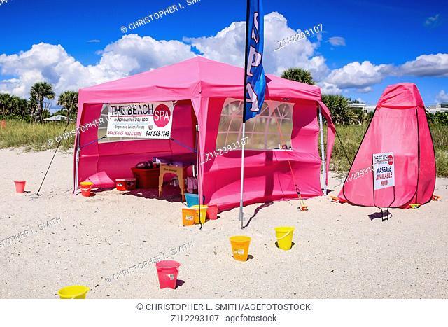 Massage tent on a sun kissed Florida beach