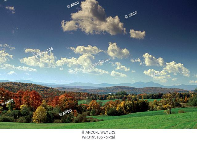 Meadows, and, woodland, in, autumn, near, Peacham, Vermont, USA