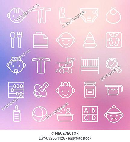 Baby icons set in thin line style. White lines on blurred background
