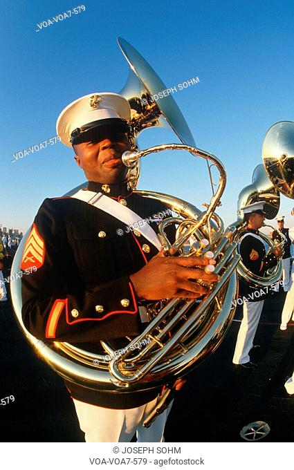Tuba player for the United States Marine Corp marching band aboard the USS Kennedy