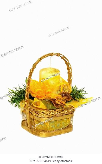 A wicker basket and candle home decoration