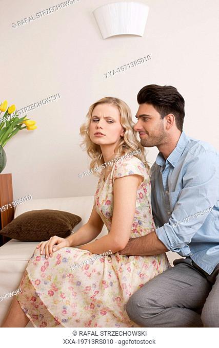 Man apologizing woman