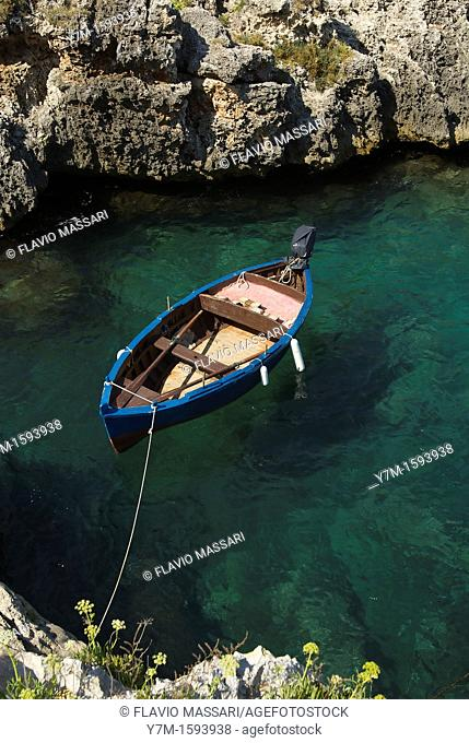 Otranto Italy:small fisher boat moored in the bay