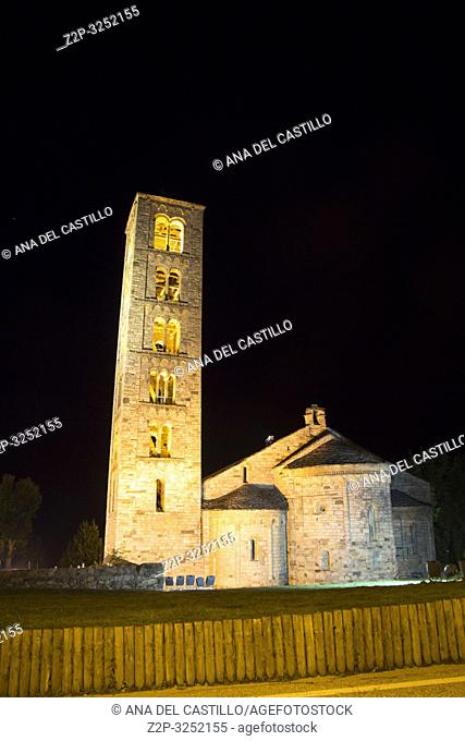San Climent de Taull village by night Boi valley Lleida Catalonia Spain