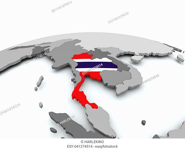 Thailand on grey political globe with embedded flag. 3D illustration