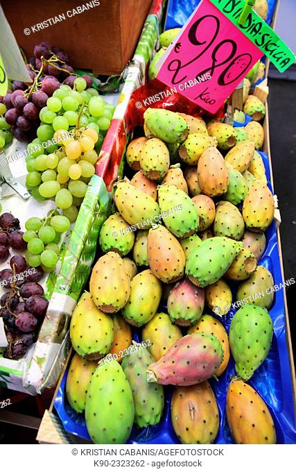 Cactus pear (Opuntia ficus-indica) for sale on the farmers market of Sanremo, Italy, Europe