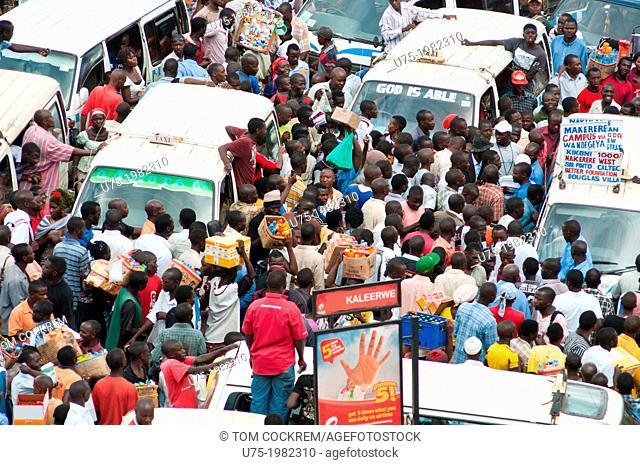 Main bus station, 'taxis' disturbance, downtown Kampala, Uganda