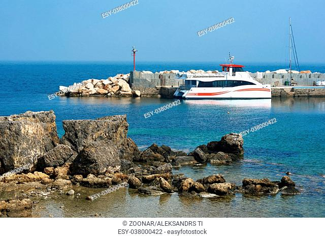 Fast ferry at the lagoon of Tabarca island. Spain