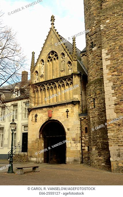 Exterior and door leading to the chapel of the Onze Leive Vrouw basiliek in Maastricht