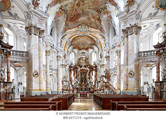 Nave with chancel, baroque pilgrimage church, Basilica of the Fourteen Holy Helpers, Bad Staffelstein, Upper Franconia, Franconia, Bavaria, Germany