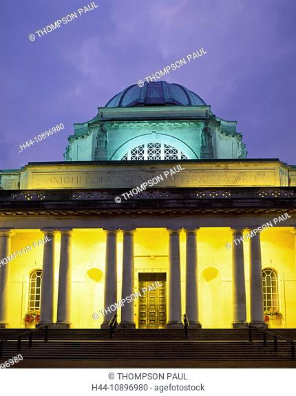 Cardiff, National Museum, museum, Art Gallery, Wales, night, evening, Glamorgan, capital, city, UK, United Kingdom, Great Britain, EU, Europe, European, nobody