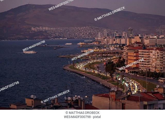 Turkey, Izmir, Cityscape from Asansoer in the evening