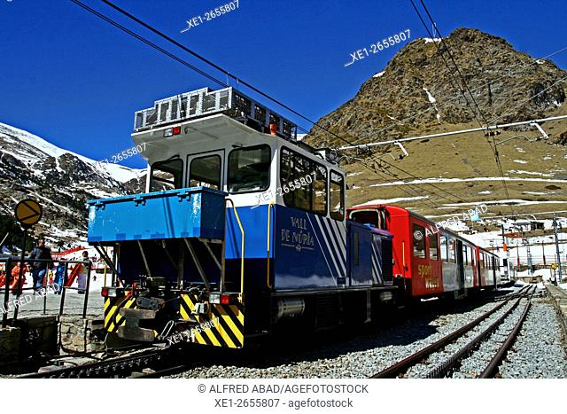 Rack railway, Vall de Nuria, Catalonia, Spain