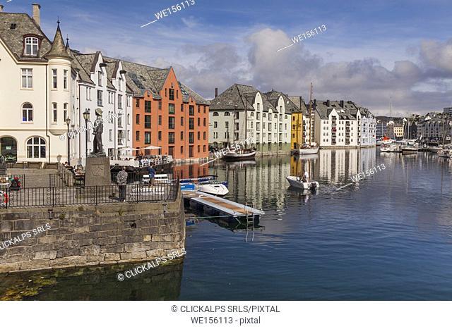 View of Alesund port, Vestlandet, Norway