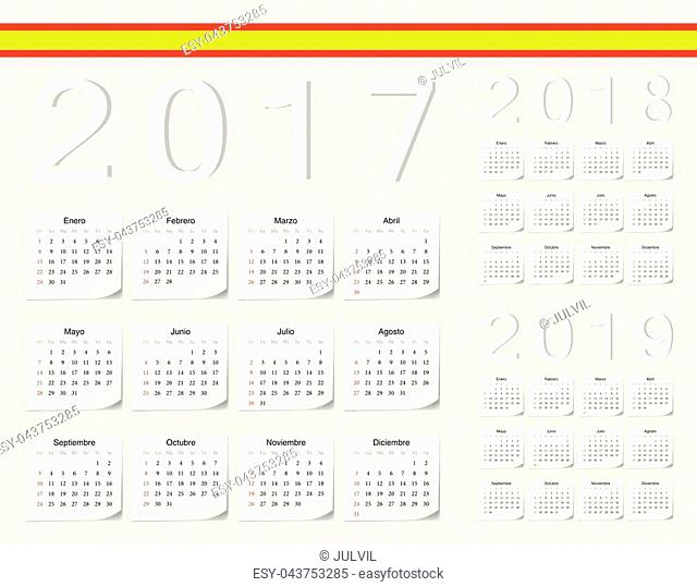 Set of Spanish 2017, 2018, 2019 vector calendars with shadow angles. Week starts from Sunday