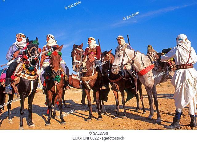 Riders on Arab stallions,International Festival of the Sahara, Douz,Tunisia