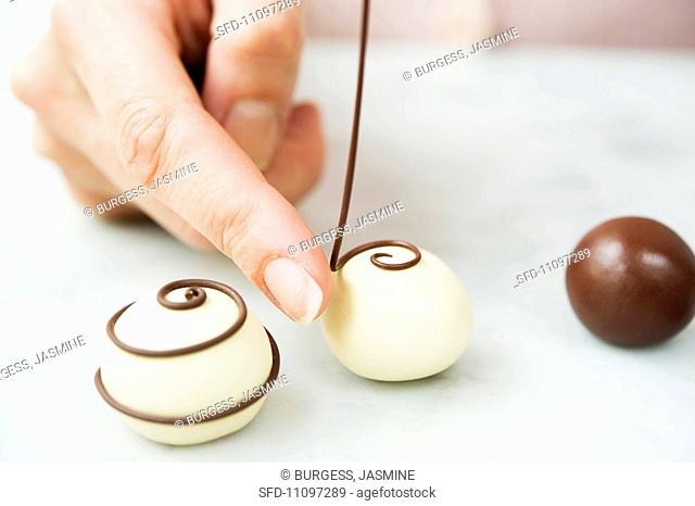 Pralines being made from modelling clay