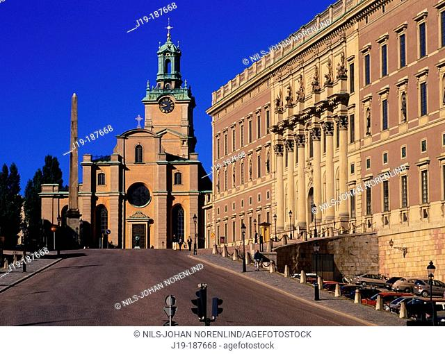 Storkyrkan (Cathedral of St. Nicholas) and Royal Palace. Stockholm. Sweden