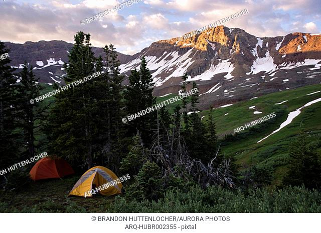 Tents at camping in Maroon Bells Snowmass Wilderness near Aspen, Colorado, USA