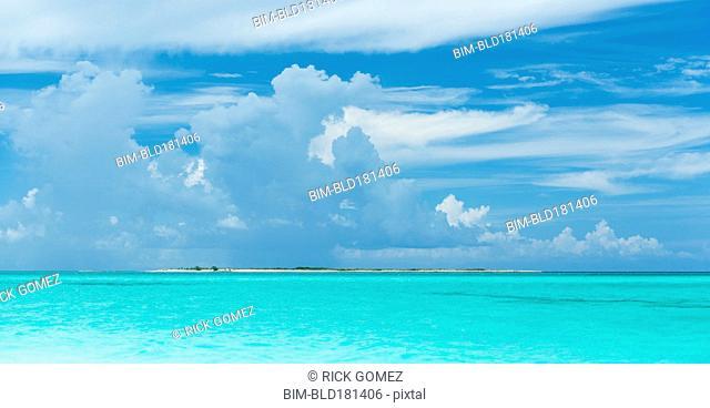 Tropical ocean under blue sky
