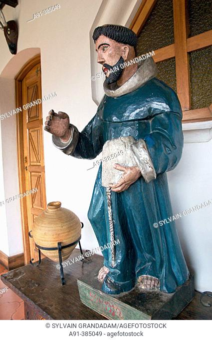 Collection of antique religious artifacts exhibited in the colonial style hotel Santo Tomás. Chichicastengo city in the Altiplano mainly inhabited by Quiche...