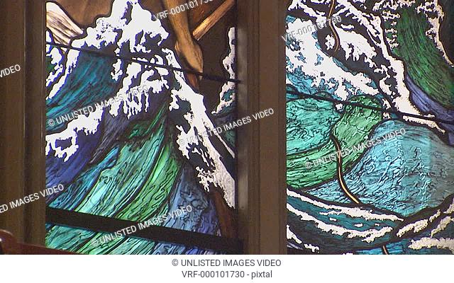 Stained glass window - Jesus calms the storm