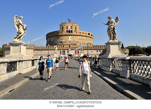 Mausoleum of Hadrian, usually known as the Castel Sant'Angelo and Ponte Sant'Angelo, Rome, Italy