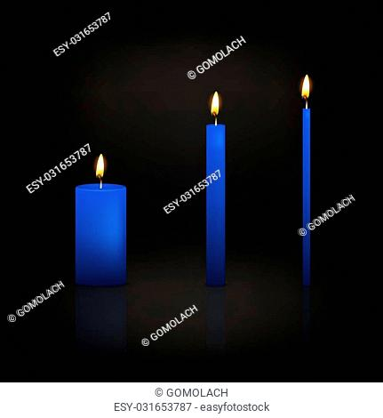 Realistic 3d candle set on a dark background. Vector EPS10 illustration
