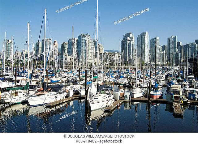 Boats in marina in False Creek, Vancouver, BC, Canada