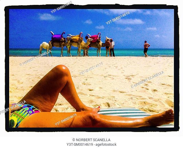 Africa, North Africa, Maghreb. Governorat of Medenine. Djerba island. Beach of Sidi Mehrez. Tourist laying on a beach of Sidi Mehrez