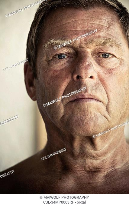 Close up of older man's face