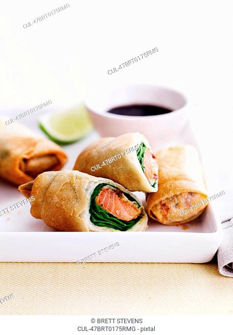 Dish of egg rolls with dip