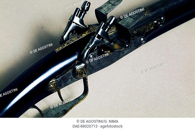 Double-barreled flintlock pistoletto (long barrel pistol). Detail.  Florence, Museo Bardini (Art And Arts And Crafts Museum)