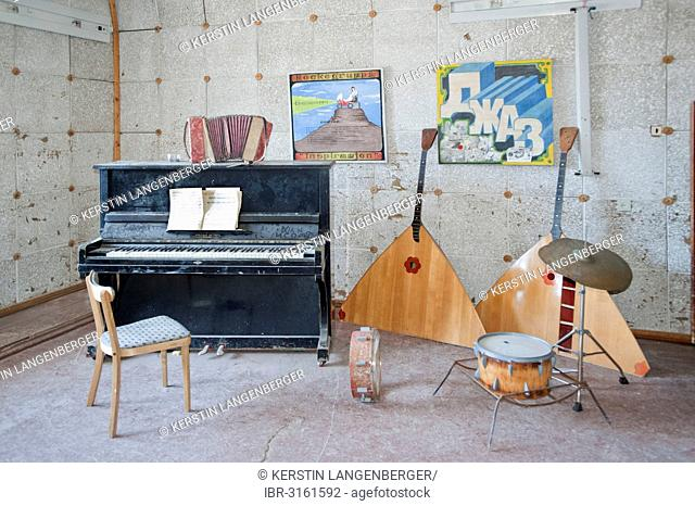 Music room of the school of the abandoned Russian mining town of Pyramiden