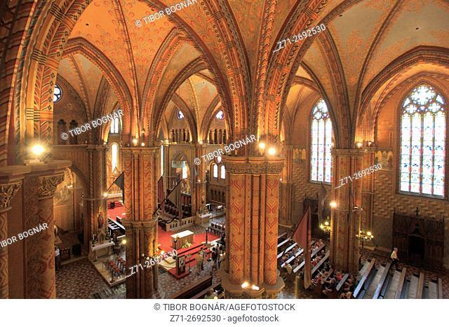 Hungary, Budapest, Matthias Church, interior,