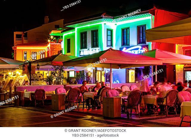 Tourists Eating At Cafes & Restaurants In The Turkish Resort Of Marmaris, Mugla Province, Turkey