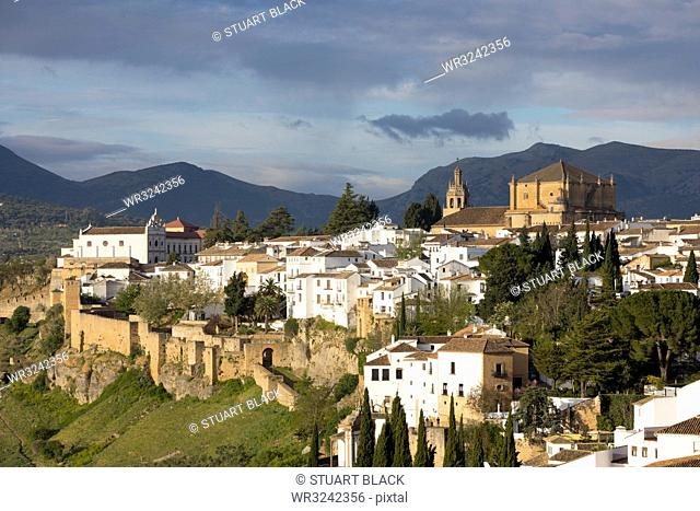 View over the old white town and the Iglesia de Santa Maria la Mayor, Ronda, Andalucia, Spain, Europe