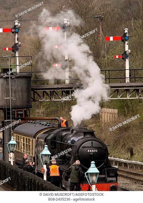 vintage steam locomotive 44871 LMS at Grosmont station,on The North Yorkshire Moors Railway,Yorkshire,UK